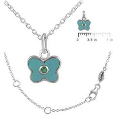 Ice 12-18 In Kids' Silver May Birthstone Butterfly Necklace For Girls