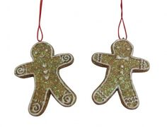 Set of 2 Gisela Graham Gingerbread Men Christmas Tree Decorations