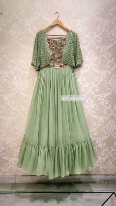 Beautiful floor length anarkali dress with hand embroidery work on yoke. Brook collection from Mrunalini Rao. Party Wear Indian Dresses, Designer Party Wear Dresses, Indian Gowns Dresses, Indian Fashion Dresses, Dress Indian Style, Indian Designer Outfits, Girls Fashion Clothes, Designer Gowns, Lehenga Designs