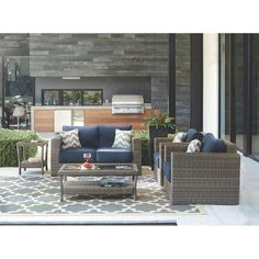 Home Decorators Collection Naples Grey 4-Piece All-Weather Wicker Patio Deep Seating Set with Navy Cushions