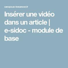 Insérer une vidéo dans un article | e-sidoc - module de base