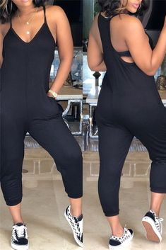 Shyfull Casual Hollowed-out Jumpsuit Black One Piece Jumpsuit, Dress Black, Mode Kimono, Casual Outfits, Cute Outfits, Perfect Prom Dress, Christmas Fashion, Winter Christmas, Printed Jumpsuit