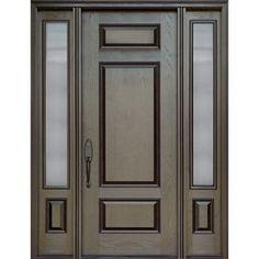 Exterior fiberglass door- single door with two sidelights - model FR24