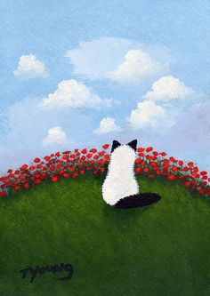 Sp pretty! | Summer Poppies - Ragdoll Himalayan Cat Folk art print | by Todd Young @Etsy
