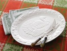 """Ceramic Turkey Serving Platter By Collections Etc by Mallory Lane. $21.97. Platter features an impressive raised design in the middle, plus fruit, leaves and berries along the border. Earthenware. Hand wash only. Measures 18 1/2""""L x 14 1/4""""W x 1""""H. (Carving Set sold separately, see item 93729)."""