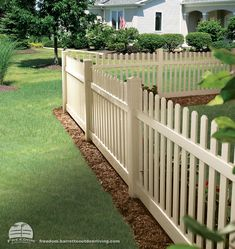 """Not your typical picket fence - """"sand"""" color in low maintenance vinyl. Freedom fencing built by Barrette and manufactured exclusively for Lowe's."""
