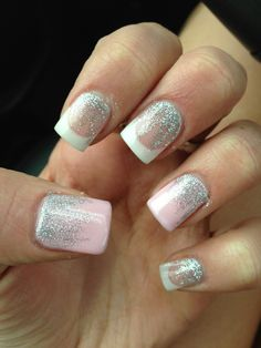Prom nails except no pink and glitter on tips
