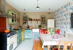 My IDEAL kitchen.Vintage kitchen, fitted with old Indian free standing kitchen units, old spice cabinets, Coolicon lamp shades, an antique French dining table and chapel chairs. Country Kitchen, New Kitchen, Kitchen Dining, Kitchen Decor, Kitchen Modern, Kitchen Chairs, Kitchen Modular, Eclectic Kitchen, Kitchen Corner