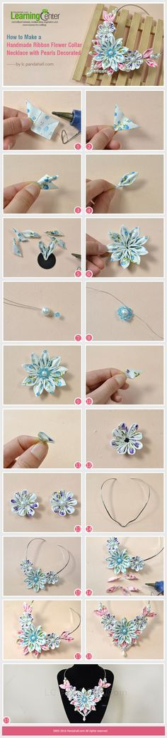 How to Make a Handmade Ribbon Flower Collar Necklace with Pearls Decorated from LC.Pandahall.com