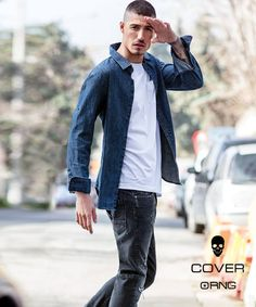 Simple white T-shirt with  black jeans and a dark blue denim shirt