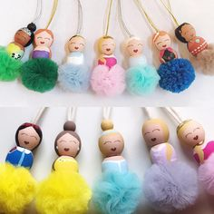 Your place to buy and sell all things handmade - Products - Your place to buy and sell all things handmade Princess party, Cosplay, Necklace Disney inspired Doll Crafts, Cute Crafts, Bead Crafts, Crafts For Kids, Wood Peg Dolls, Clothespin Dolls, Disney Necklace, Disney Jewelry, Pom Pom Crafts