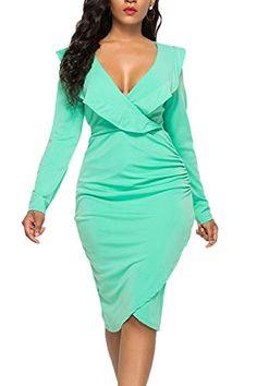 3919bc9f2a4 Everyday Dresses, Wrap Dress, Ruffles, Wrap Around Dress. Angie Fehl ·  Everyday Dresses · WIWIQS Women's Sexy V Neck Bodycon Long Sleeve ...