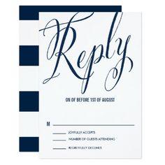 Navy & White Mr. & Mrs. Elegant Script RSVP Card