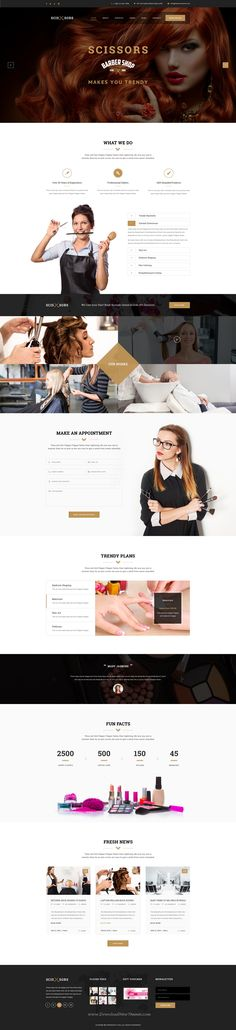 Scissors : Salon & Hair Styling PSD Template suitable for all types of Salon and Hair Styling businesses. That Includes totally 20 Pages. #spa #hairstyle #website