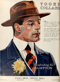 MENS WARDROBE: Vintage Ad for Tooke Collars, December 1917
