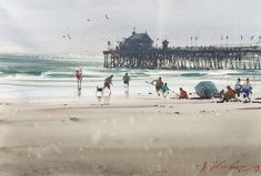 Joseph Zbukvic, Oceanside, CA, May 2019 Watercolor Landscape, Watercolor Art, Watercolour Paintings, Joseph Zbukvic, Beach Art, Marines, Louvre, Drawings, Watercolors