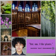 Aesthetic for the character of Raj. Friend to Mina, Raj would sooner study plants than wave a sword around, which is just as well since he's training to be a healer!
