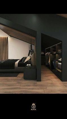 Black Bedroom Design, Room Design Bedroom, Home Room Design, Dream Home Design, Modern House Design, Home Interior Design, Interior Architecture, Mens Bedroom Design, Best Home Design