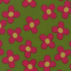 Fat Quarter - Pop Posies Pink flowers on green organic fabric Robert Kaufman Fabrics BLOSSOM Green Organics, Robert Kaufman, Fabulous Fabrics, Blossom Flower, Pink Flowers, Sewing Patterns, Handmade Gifts, Pop, Popular