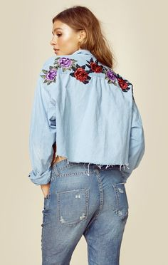 Planet Blue's exclusive new brand Good Fuckin' Vibes brings you the Rose Is A Rose Denim Crop Shirt. Featuring floral embroidery on a vintage denim chambray shirt. Each style is unique and handmade