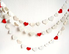 Paper hearts wedding garland, vintage book paper garland 12 ft, Valentines day garland, red heart party decor, felt hearts garland. $12.95, via Etsy.