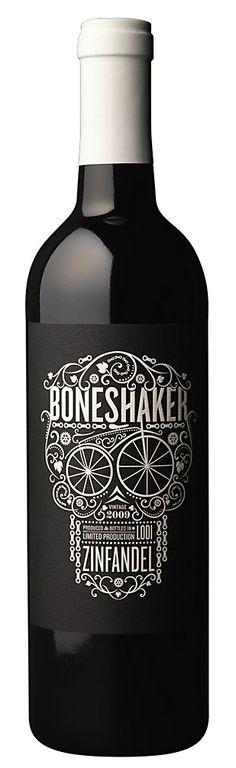 Boneshaker by CF Napa Brand Design, CA Design Annual 2012. IT GLOWS IN THE DARK. #wine #packaging