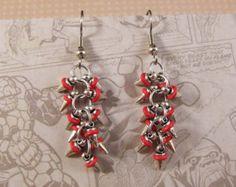 Mini Spike Earrings in Silver & Red - Edit Listing - Etsy