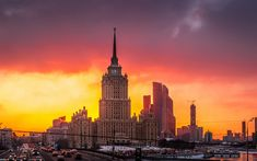 Download wallpapers Moscow, Moscow State University, sunset, Soviet architecture, metropolis, Moscow river, Russia