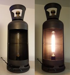 opened metallic gas bottle with Edison Bulb (bouteille de gaz ouverte) made by www.avenuedesbonshommes.com Industrial Interior Design, Industrial Interiors, Lamp Light, Light Up, Luminaire Vintage, Car Furniture, Cool Lamps, Fire Extinguisher, Candle Sconces
