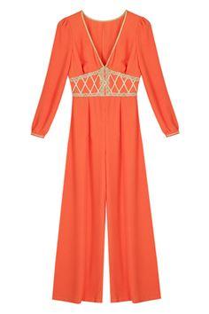V-neck Wide Leg Orange Jumpsuit  #IndianPrincess