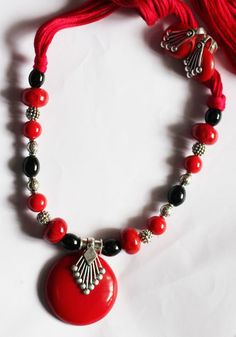 Rubeads Red and Black Beads dori Necklace and Earrings For Women