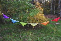 silk flag banner bunting party birthday wedding - RAINBOW