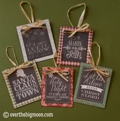 Turn Free Printables into Ornaments + a Roundup of Free Chalkboard Printables! Health & Fitness – Grandcrafter – DIY Christmas Ideas ♥ Homes Decoration Ideas Christmas Ornament Crafts, Christmas Gift Tags, Christmas Projects, Handmade Christmas, Holiday Crafts, Holiday Fun, Christmas Holidays, Diy Ornaments, Rustic Christmas