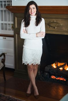 Sarah Vickers adventures in New England living, classic fashion, and travel. Office Fashion Women, Womens Fashion For Work, Work Fashion, Winter Fashion, White Lace Skirt, White Skirts, Sarah Vickers, Business Casual Dresses, Classy Girl