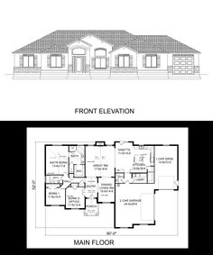 1000 images about one story house plans on pinterest 3 for 3 car side load garage