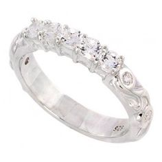 Ladies Sterling Silver Cubic Zirconia Ring Brilliant Cut.