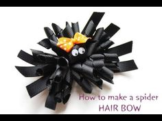 how to make the spider hair bow for Halloween