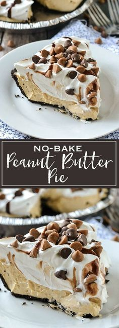 A simple recipe for creamy and delicious No-Bake Peanut Butter Pie. A simple recipe for creamy and delicious No-Bake Peanut Butter Pie. It only takes minutes to make with just a few ingredients. It& simply delicious. Dessert Oreo, Bon Dessert, Brownie Desserts, Dessert Party, Baking Brownies, Dessert Table, Appetizer Dessert, Dinner Dessert, Dessert Kabobs