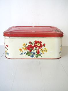 Vintage Bread Box- Tin- Red and Yellow Floral Breadbox- Kitchen Storage Shabby…