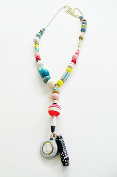 Hartley~ Handmade / Colorful / Artistic / Hand Painted  / Statement / Wooden and Clay Pendant / Chain Necklace ~Limited, Free Shipping U.S.