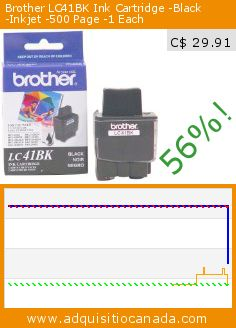 Brother LC41BK Ink Cartridge -Black -Inkjet -500 Page -1 Each (Office Product). Drop 56%! Current price C$ 29.91, the previous price was C$ 67.99. http://www.adquisitiocanada.com/brother/blk-ink-mfc210c420cn620cn