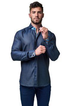 Maceoo shirt - Wall Street Gold Dot Navy - Men Fashion - 2