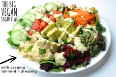 The Big Vegan Salad Plate with Creamy Tahini-Dill Dressing