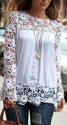 Look! Белые блузы и джинсы! 1