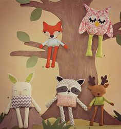 5 Toy Sewing Patterns for Woodland Animals, Raccoon, Fox, Bunny Rabbit, Raindeer Deer, Owl, Vintage Handmade, Beginners Rag Doll Sew Pattern...