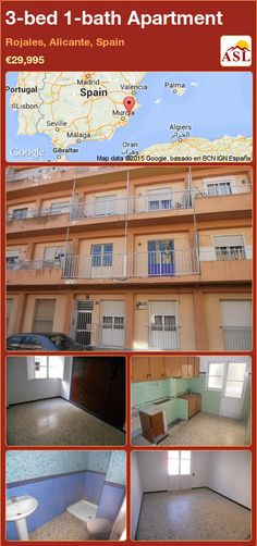 Apartment for Sale in Centre Town, Rojales, Alicante, Spain with 3 bedrooms, 1 bathroom - A Spanish Life Valencia, Portugal, Alicante Spain, 3 Bedroom Apartment, Apartments For Sale, Public Transport, Really Cool Stuff, Lounge, Mansions
