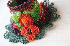 beaded freeform crochet cuff bracelet by irregularexpressions