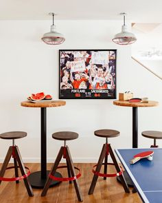 Contemporary White Basement With Ping Pong Table & Bar Tables