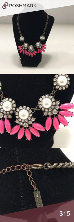 BaubleBar Pink Floral Necklace A floral rhinestone and faux pearl necklace with brass toned chain from BaubleBar. The clasp is missing the trigger but still opens and closes BaubleBar Jewelry Necklaces Faux Pearl Necklace, Floral Necklace, Jewelry Necklaces, Brass, Pearls, Chain, Womens Fashion, Pink, Closet