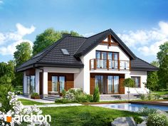 Dom w kalateach 3 Style At Home, Bungalow Conversion, Cute House, Cottage Style Homes, Dream House Exterior, Modern House Plans, Home Design Plans, Kit Homes, Pent House